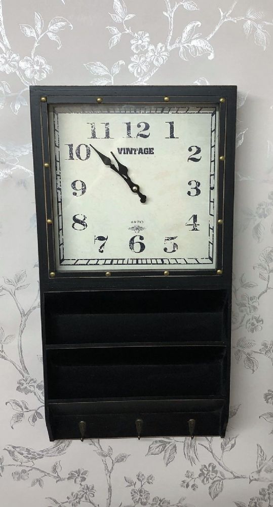 Black Hall Office Wall Clock & Paper Letter Rack with 3 Coat Hooks